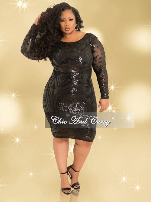 Final Sale BodyCon Sequin Dress with Zipper Back in Black