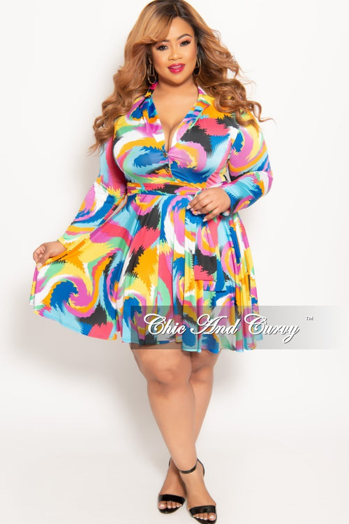 893794acd0ce7 New Plus Size Long Sleeve Button Up Skater Dress with Attached Tie in Multi  Color Design