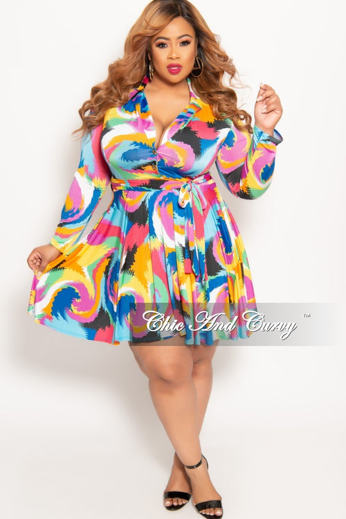 20c2d0f2e5 New Plus Size Long Sleeve Button Up Skater Dress with Attached Tie in Multi  Color Design