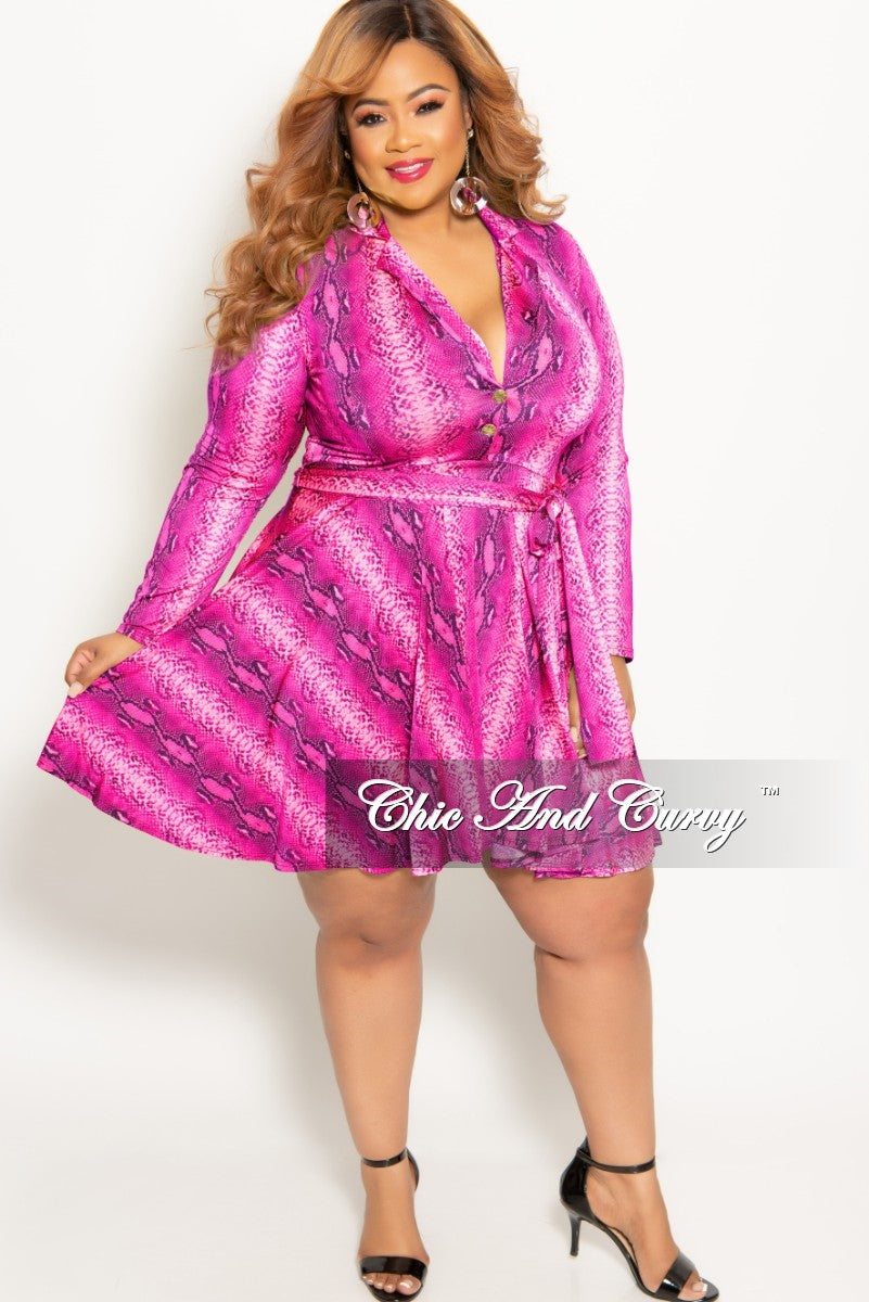 New Plus Size Long Sleeve Button Up Skater Dress with Attached Tie in Hot Pink Snake Skin Print