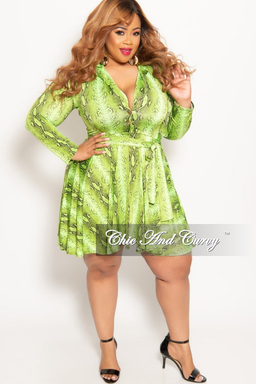 Final Sale Plus Size Long Sleeve Button Up Skater Dress with Attached Tie in Green Snake Skin Print