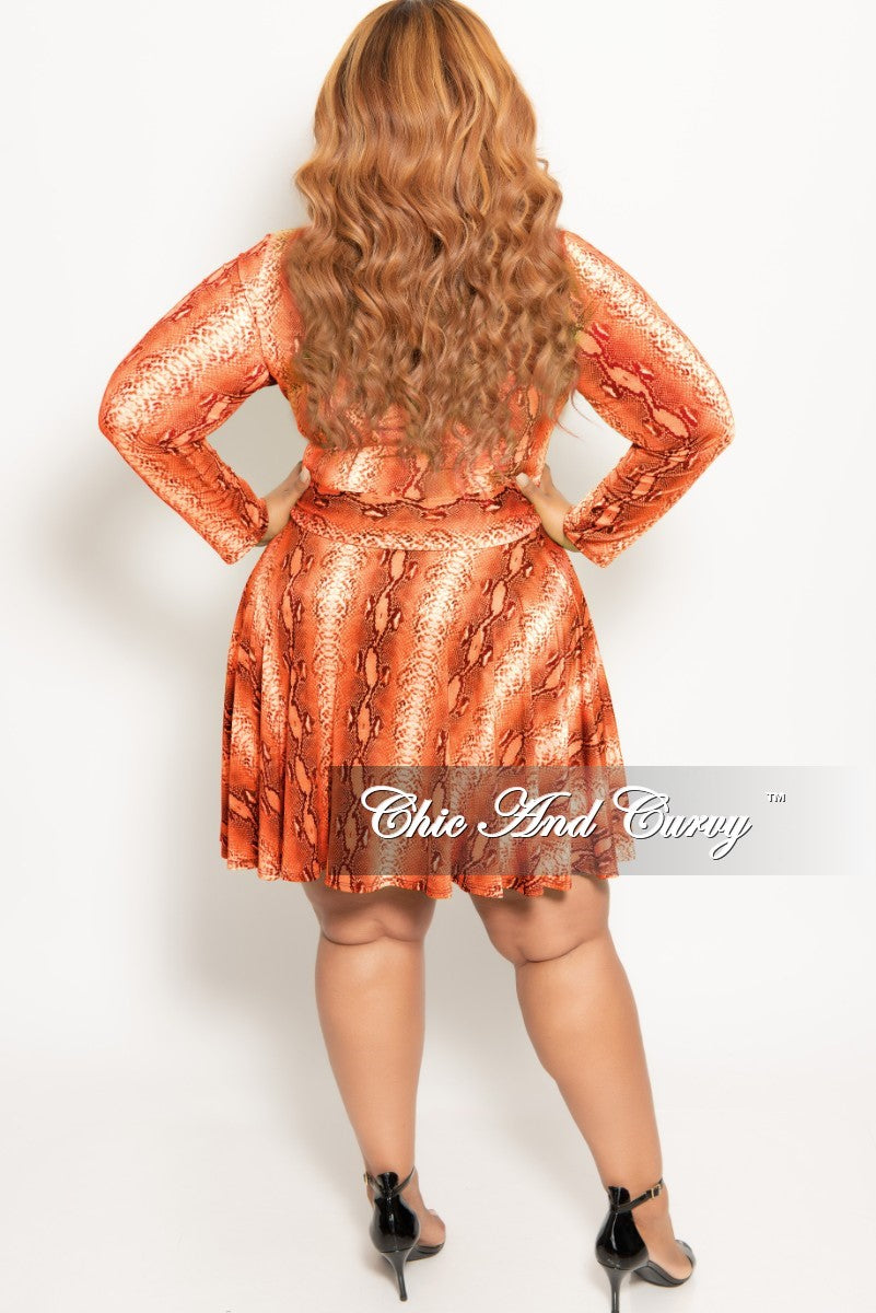 New Plus Size Long Sleeve Button Up Skater Dress with Attached Tie in Orange Snake Skin Print
