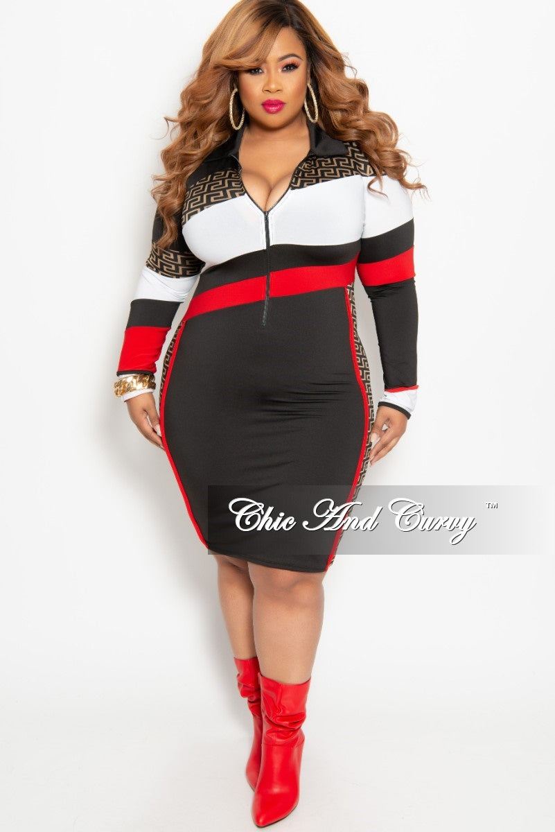 New Plus Size Long Sleeve Zip-Up Maze Print BodyCon Dress in Black Red and White