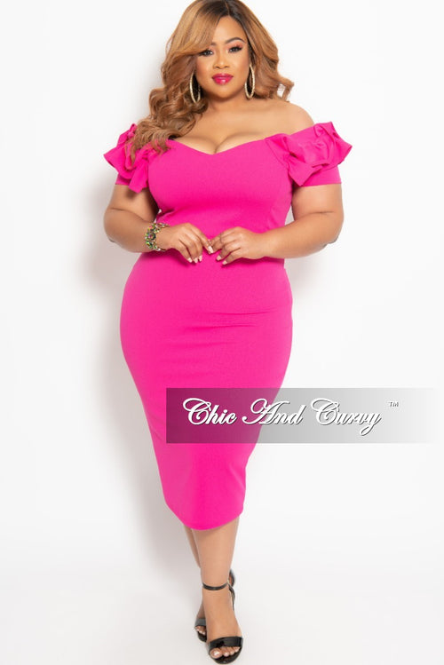ee1f3460039 New Plus Size BodyCon Dress with Ruffle Sleeves and Back Gold Zipper in Hot  Pink
