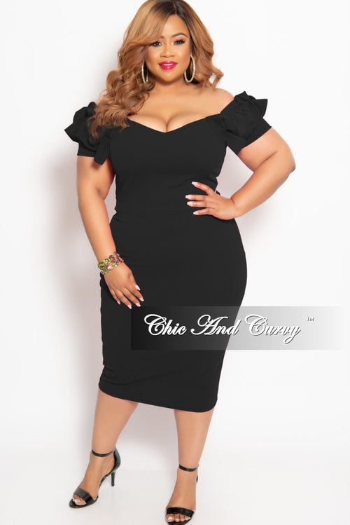 New Plus Size BodyCon Dress with Ruffle Sleeves and Back Gold Zipper in Black