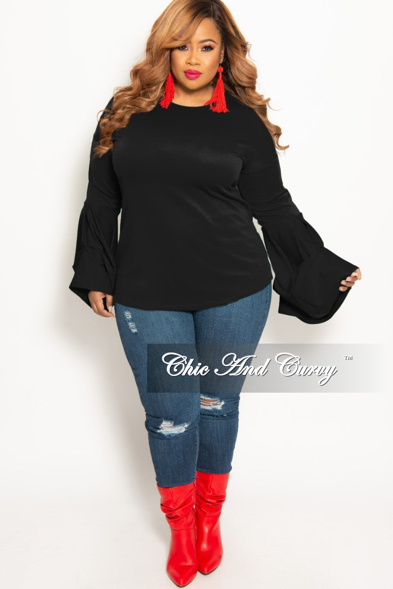 New Plus Size Round Neck Top with Puffy Sleeves in Black