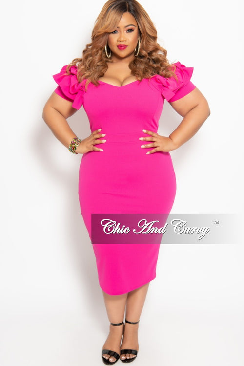 New Plus Size BodyCon Dress with Ruffle Sleeves and Back Gold Zipper in Hot Pink