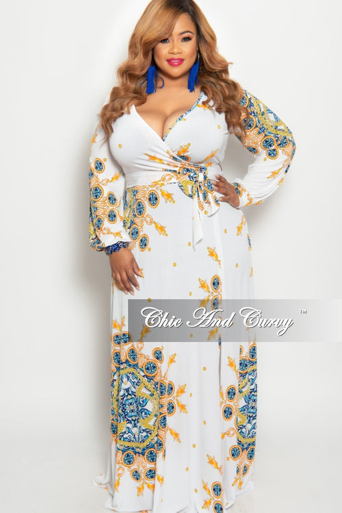 Final Sale Plus Size Long Sleeve Faux Wrap Dress in White Orange Yellow and Royal Blue