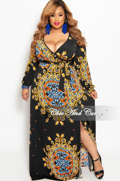 New Plus Size Long Sleeve Faux Wrap Dress in Black Orange Yellow and Royal Blue