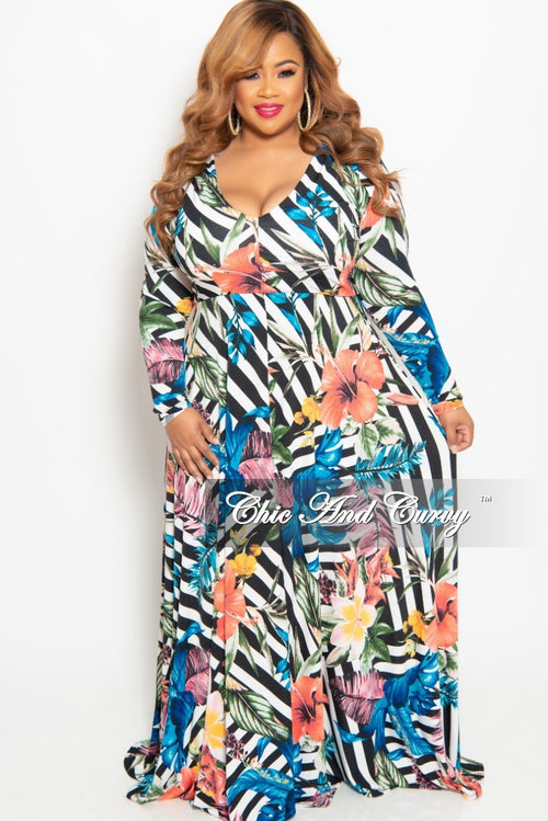 New Plus Size Long Sleeve V-Neck Gown in Striped Multi Color Floral Print