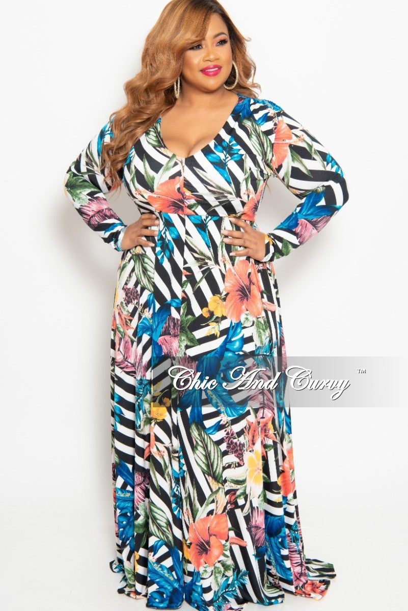 dafd1c75885 New Plus Size Long Sleeve V-Neck Gown in Striped Multi Color Floral Print