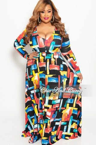 New Plus Size 3/4 Sleeve Pocket Maxi Dress with Tie in Green Black Rust and Purple Leaf Print