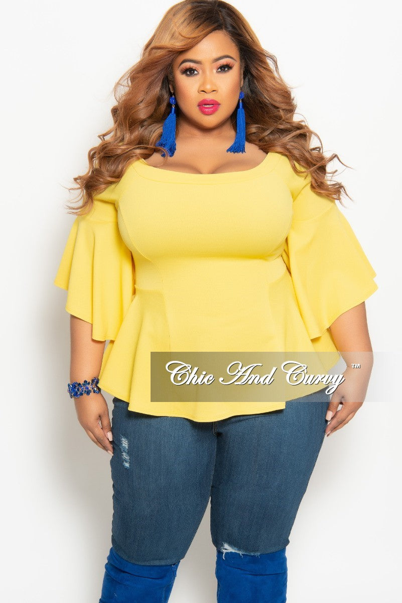 77e9d0580b6 New Plus Size Off the Shoulder Bell Sleeve Top in Yellow – Chic And Curvy