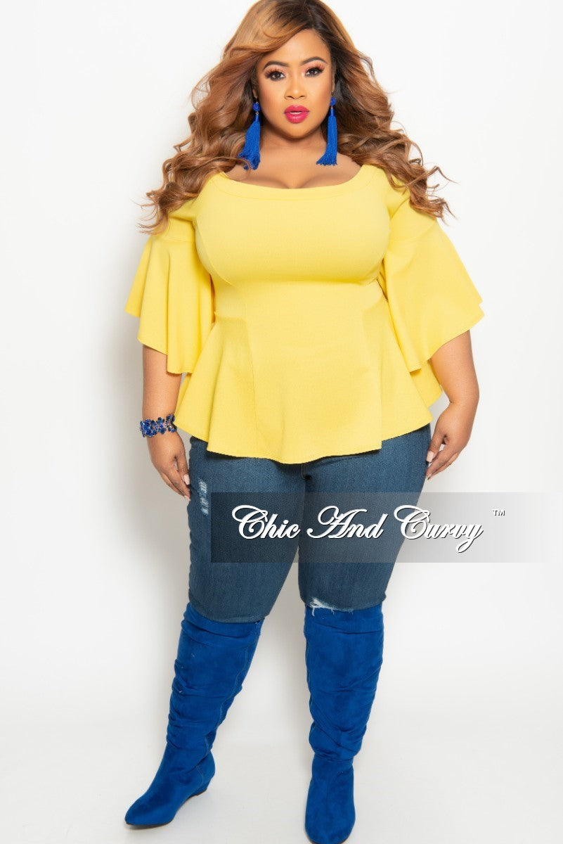 f227094f50bdd New Plus Size Off the Shoulder Bell Sleeve Top in Yellow – Chic And ...