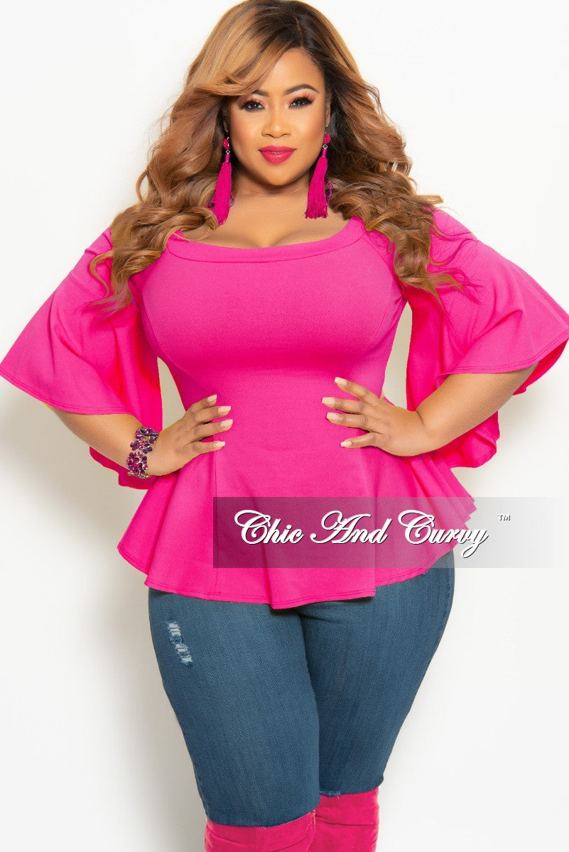 7ed476a1b1d New Plus Size Off the Shoulder Bell Sleeve Top in Hot Pink – Chic And Curvy