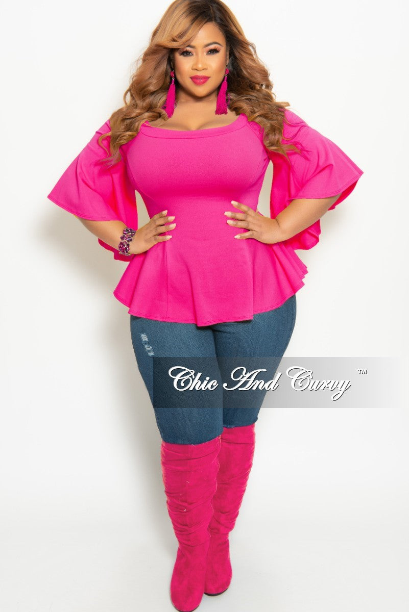 cc8e99c3d00 New Plus Size Off the Shoulder Bell Sleeve Top in Hot Pink – Chic And Curvy