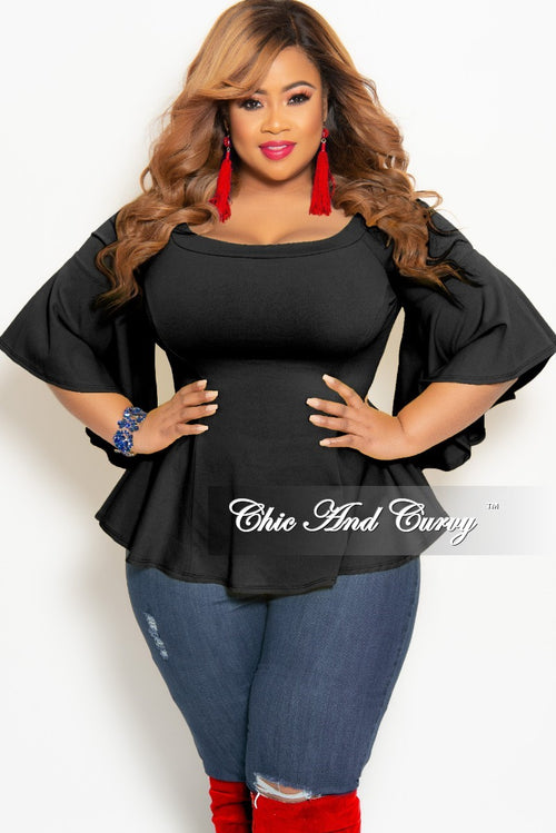 6951fb3c8378b6 New Plus Size Off the Shoulder Bell Sleeve Top in Black