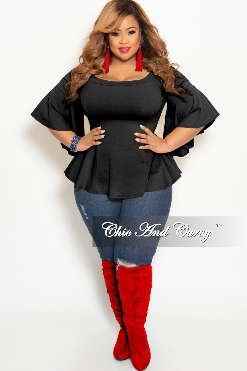 adeca52df38 New Plus Size Off the Shoulder Bell Sleeve Top in Black – Chic And Curvy