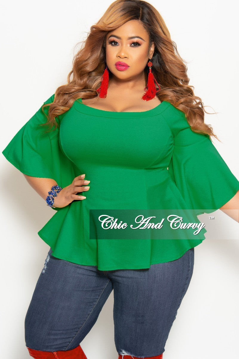 3dd3e90e119 New Plus Size Off the Shoulder Bell Sleeve Top in Green – Chic And Curvy
