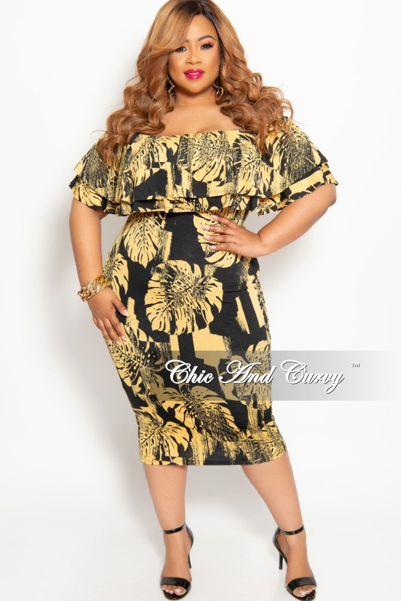 New Plus Size Off the Shoulder Ruffle BodyCon Dress in Black and Gold Leaf Print