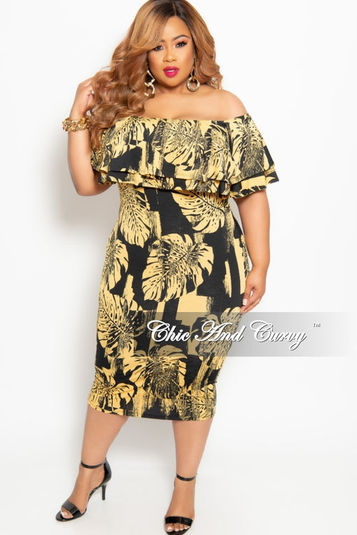 8d253cfc3633 New Plus Size Off the Shoulder Ruffle BodyCon Dress in Black and Gold Leaf  Print