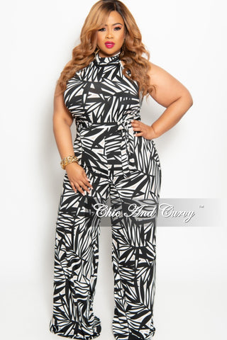 New Plus Size Strapless Jumpsuit with Attached Tie in Green and Navy Maze Print