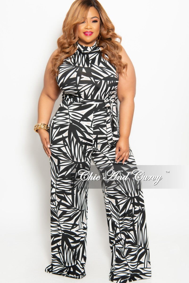 f8581c86aeb7a New Plus Size Sleeveless Jumpsuit with Back Zipper in Black White and Tan