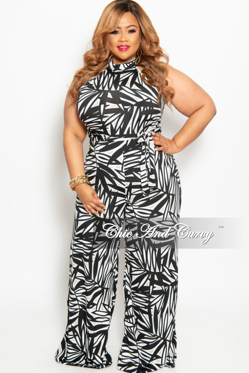 e6851af4812f6 New Plus Size Sleeveless Jumpsuit with Back Zipper in Black White and Tan