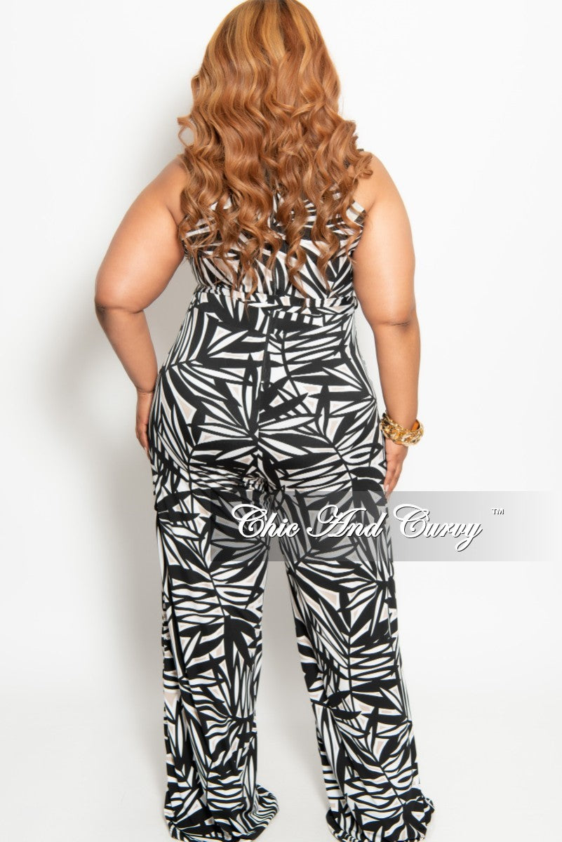 New Plus Size Sleeveless Jumpsuit with Back Zipper in Black White and Tan