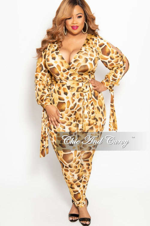 fe61d62a4f New Plus Size Long Sleeve Faux Wrap Jumpsuit with Slit Sleeves and Attached  Tie in Light