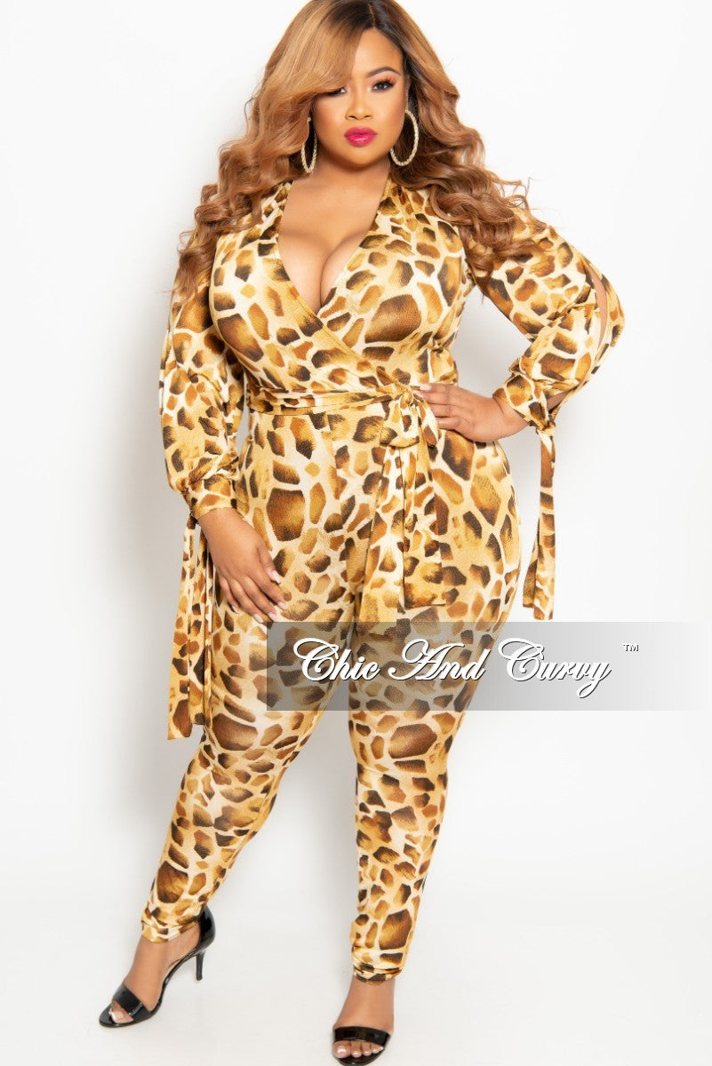 New Plus Size Long Sleeve Faux Wrap Jumpsuit with Slit Sleeves and Attached Tie in Light Animal Print