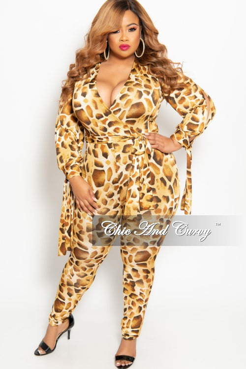 54a3d4d6b73 New Plus Size Long Sleeve Faux Wrap Jumpsuit with Slit Sleeves and Attached  Tie in Light