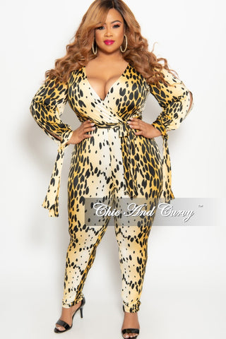319031125a New Plus Size Long Sleeve Faux Wrap Jumpsuit with Slit Sleeves and Attached  Tie in Gold Animal Print