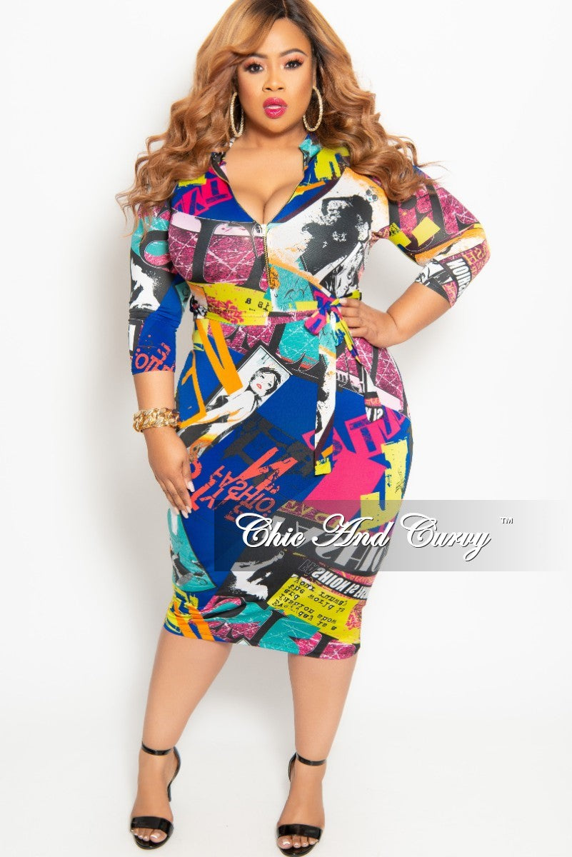 Final Sale Plus Size Zip-Up Dress with Attached Tie in Royal Blue Multi Color Cartoon Print