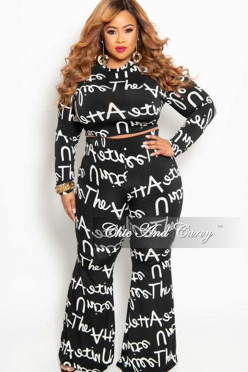 8a8b522ff2 Final Sale Plus Size 2-Piece Crop Top and Pants Set in Black and White