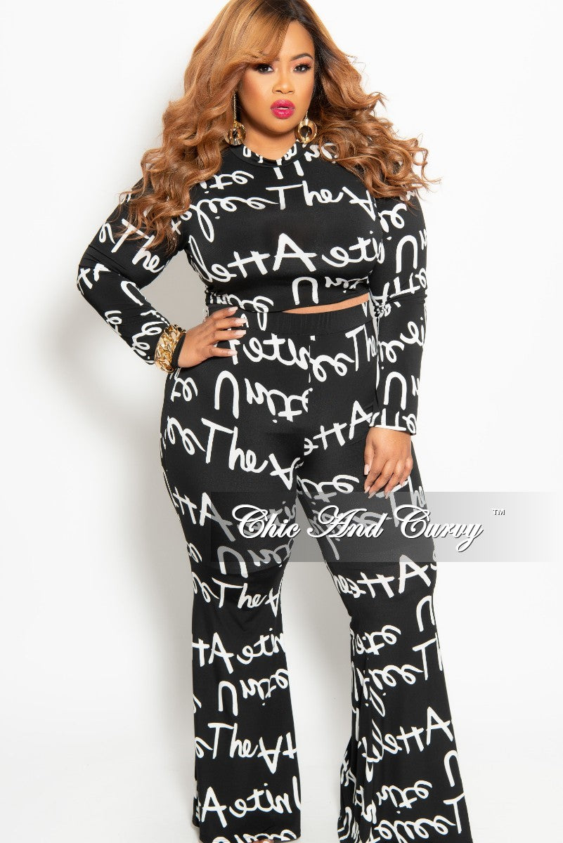 Final Sale Plus Size 2-Piece Crop Top and Pants Set in Black and White Script Print