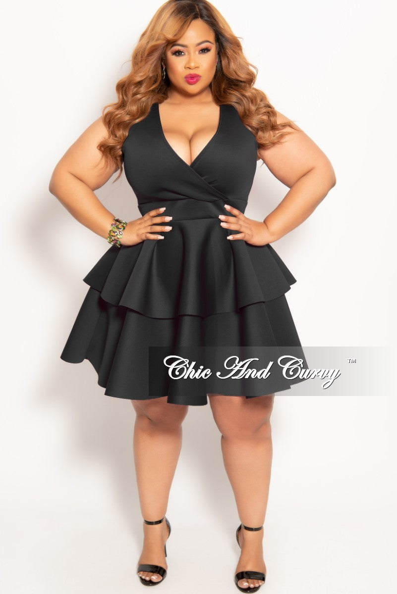 2662ec83d08 New Plus Size Sleeves Faux Wrap Layered Dress in Black – Chic And Curvy
