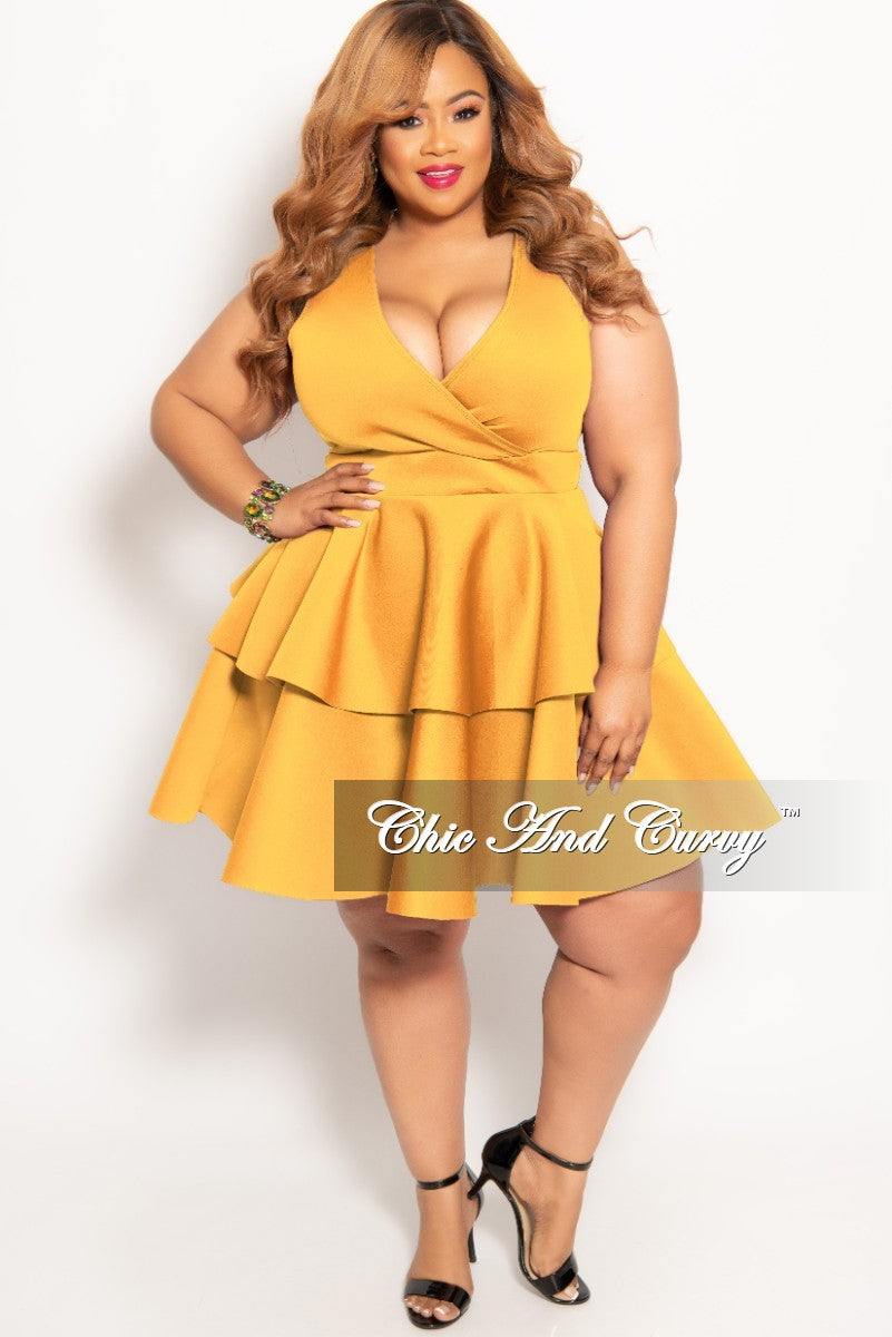 9b308aa577b New Plus Size Sleeves Faux Wrap Layered Dress in Gold – Chic And Curvy