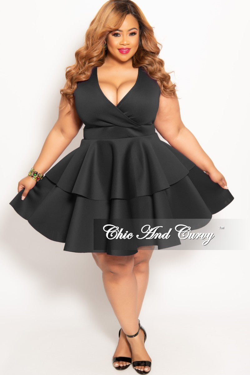 77ba5cb3dbb New Plus Size Sleeves Faux Wrap Layered Dress in Black – Chic And Curvy