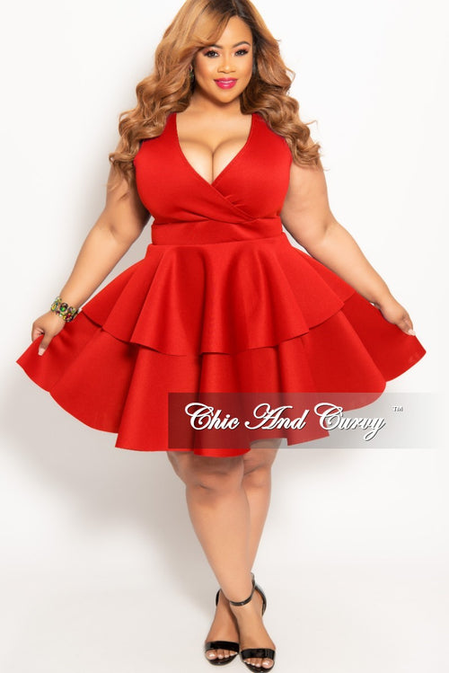 New Plus Size Sleeves Faux Wrap Layered Dress in Red