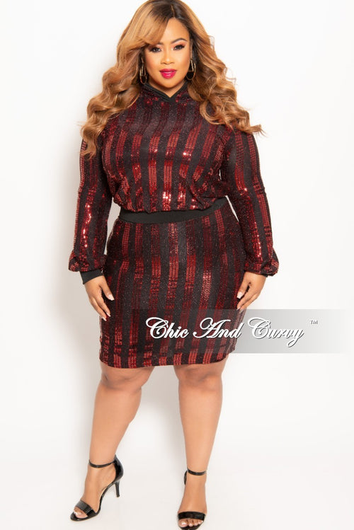 Final Sale Plus Size 2-Piece Sequin Pullover Hooded Top and Skirt Set in Red