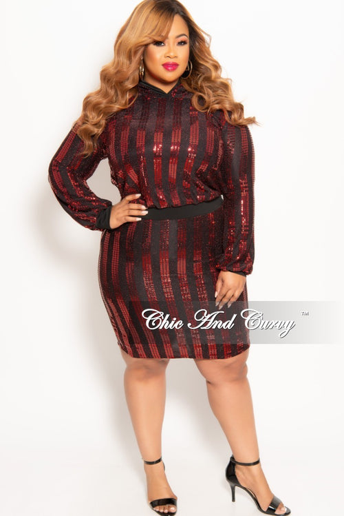 415a92ce1f238 Final Sale Plus Size 2-Piece Sequin Pullover Hooded Top and Skirt Set in Red