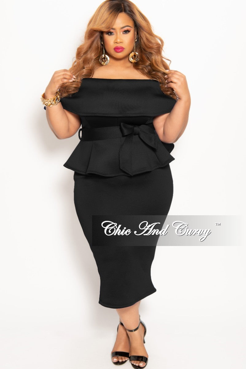 8184e9c654347 New Plus Size 2-Piece Off the Shoulder Belted Peplum Top and Skirt Set –  Chic And Curvy