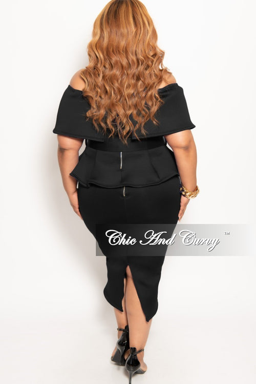 New Plus Size 2-Piece Off the Shoulder Belted Peplum Top and Skirt Set in Black Light Scuba
