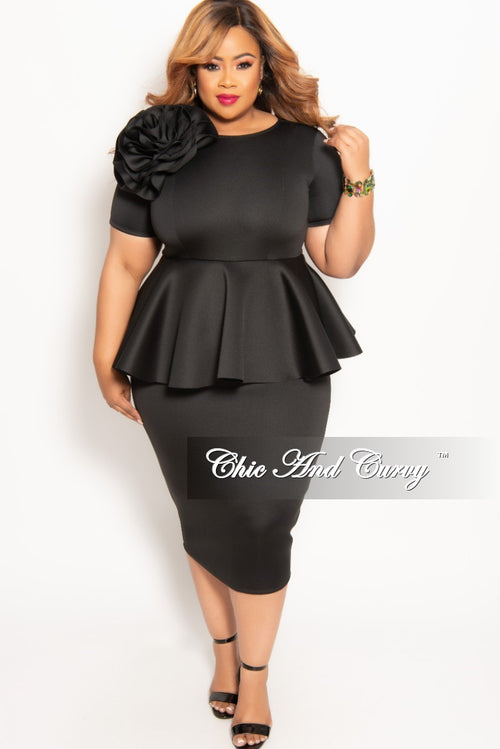 New Plus Size Short Sleeve Flower Peplum Midi Dress with Back Zipper in Black (Scuba Fabric)