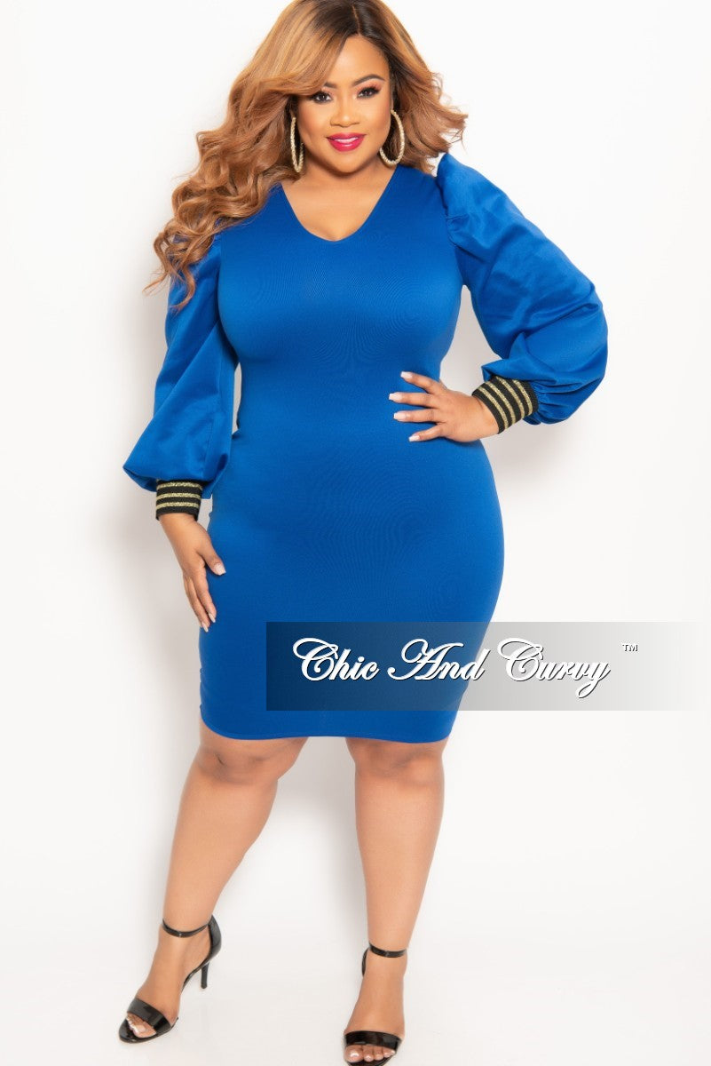 New Plus Size Long Sleeve BodyCon Dress with Back Zipper in Royal Blue with  Gold Trim Cuff