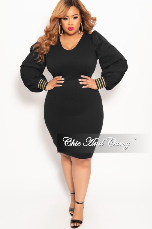 New Plus Size Long Sleeve BodyCon Dress with Back Zipper in Black with Gold Trim Cuff