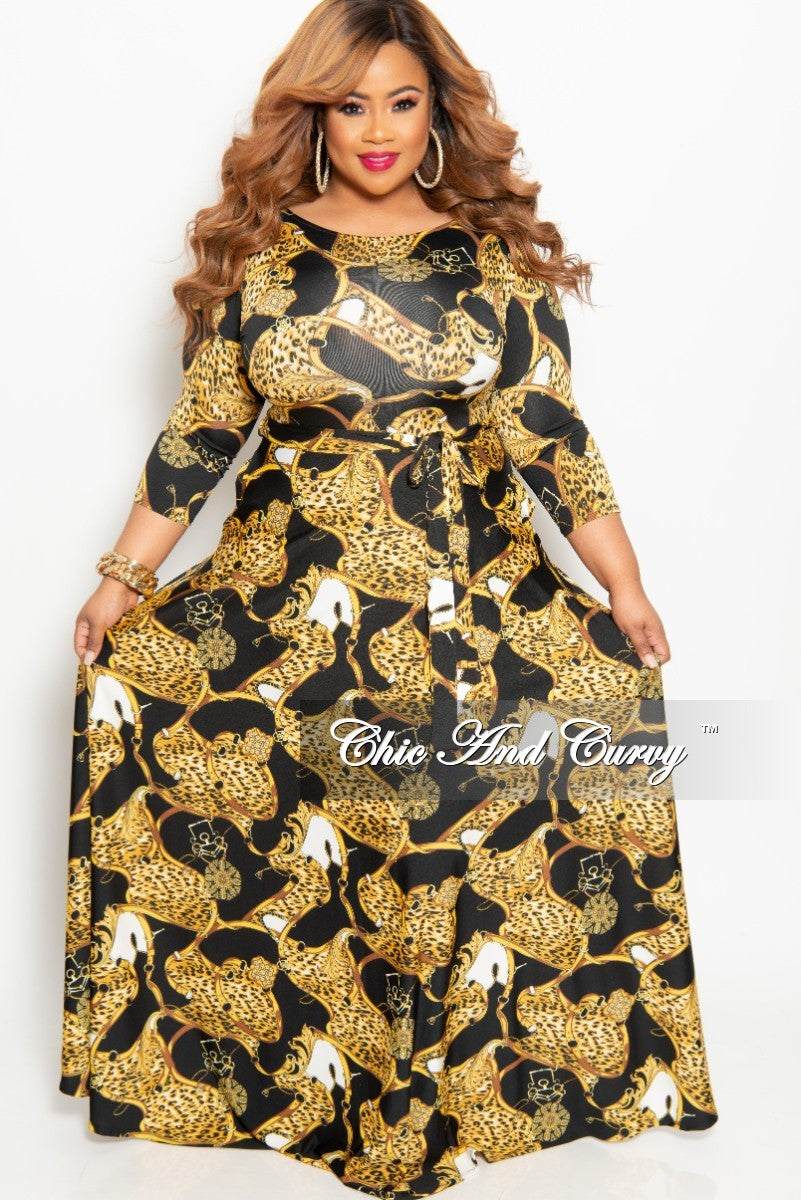 New Plus Size Animal Print Long Pocket Dress with 3/4 Sleeve and Tie in Black