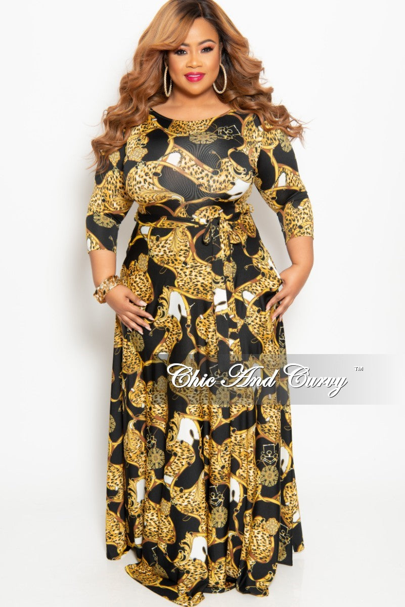 3d18e0f4cc691 New Plus Size Animal Print Long Pocket Dress with 3 4 Sleeve and Tie i –  Chic And Curvy