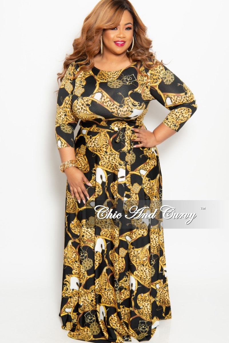 73504edf730 New Plus Size Animal Print Long Pocket Dress with 3 4 Sleeve and Tie ...